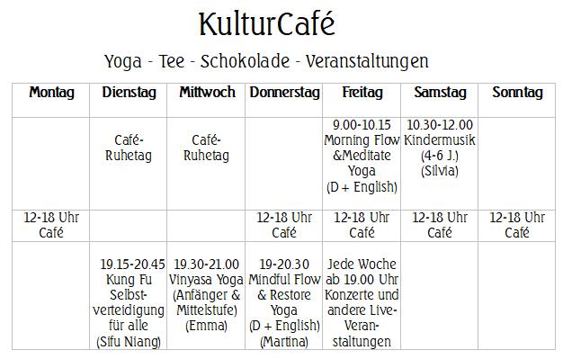 KulturCafé Wochenprogramm 2019